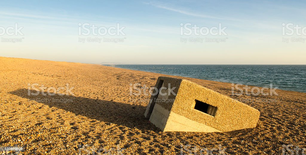 Pill box on Chesil Beach stock photo