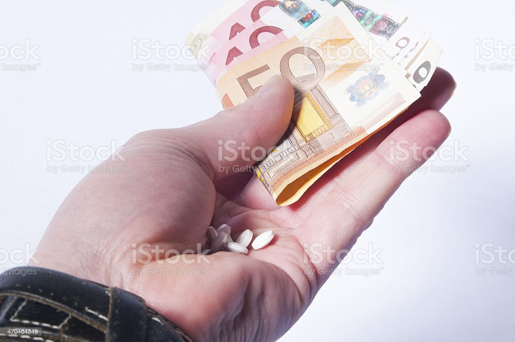 Pill, drugs and paper money stock photo