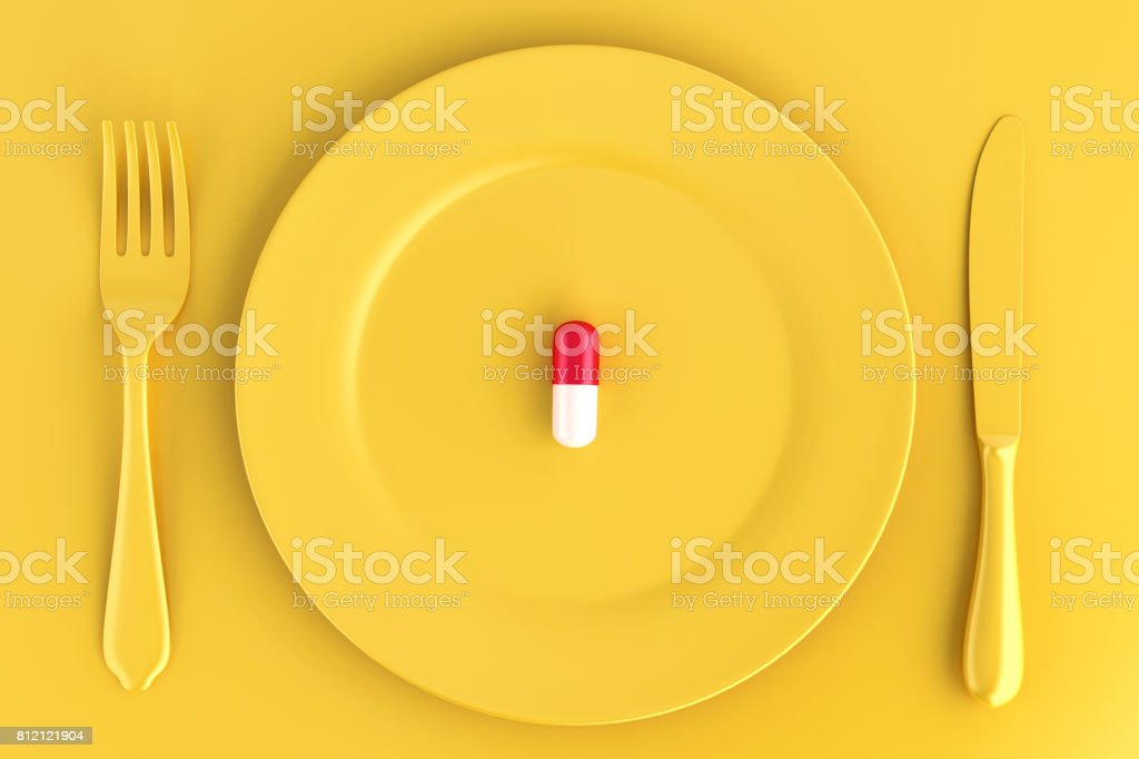Pill on plate. Food concept. 3D illustration. stock photo