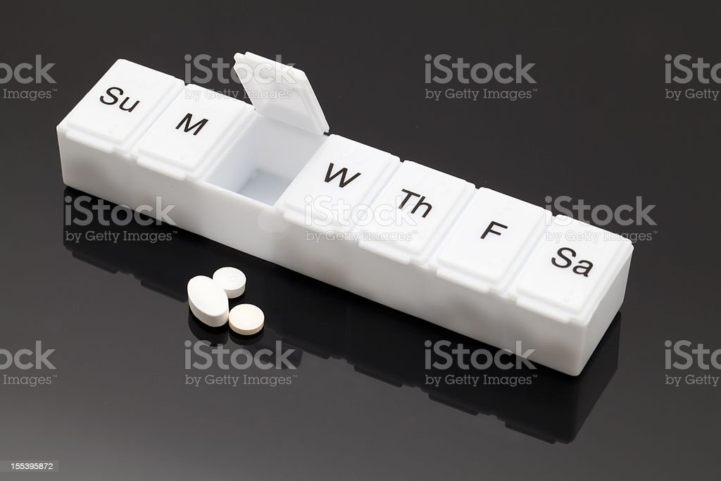 Pill organizer stock photo
