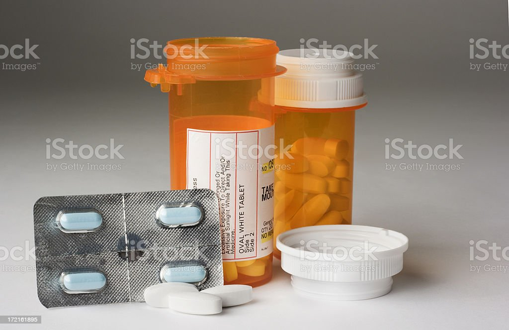 Pill Packages and Bottles, Prescription Medicines for Healthcare or Illness stock photo