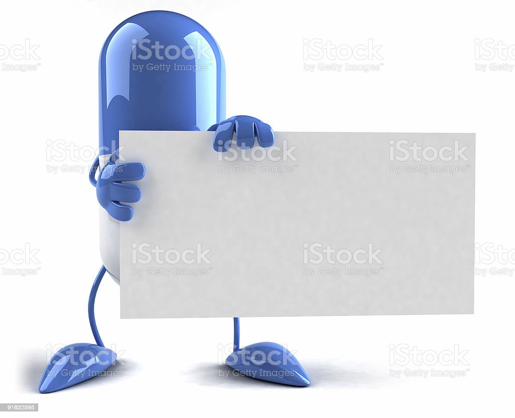 Pill with a blank sign royalty-free stock photo