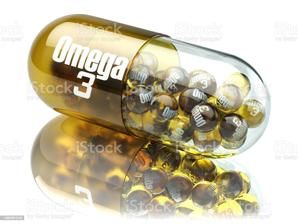 Pill with Omega 3  element. Dietary supplements. Vitamin capsule stock photo