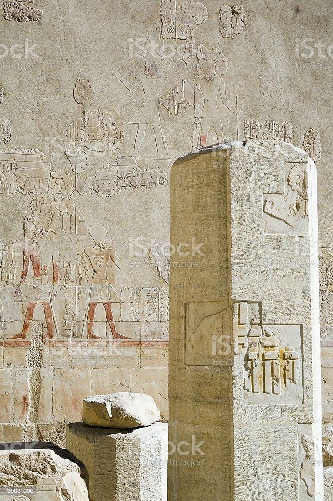 Pillar in temple of Hatchepsut stock photo