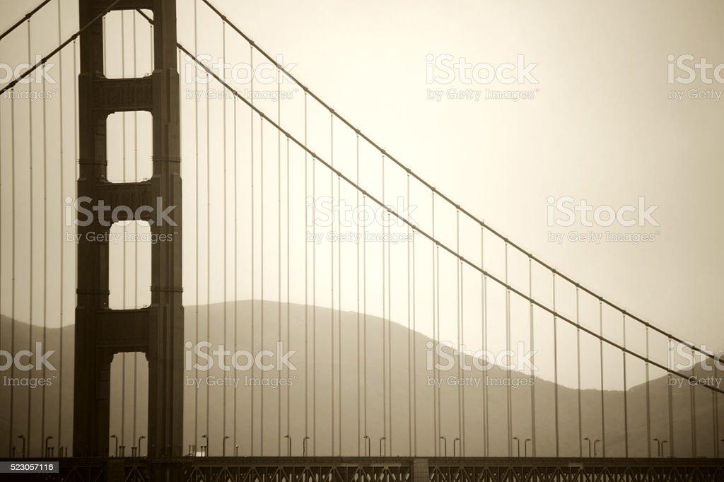 Pillar of Golden Gate Bridge stock photo