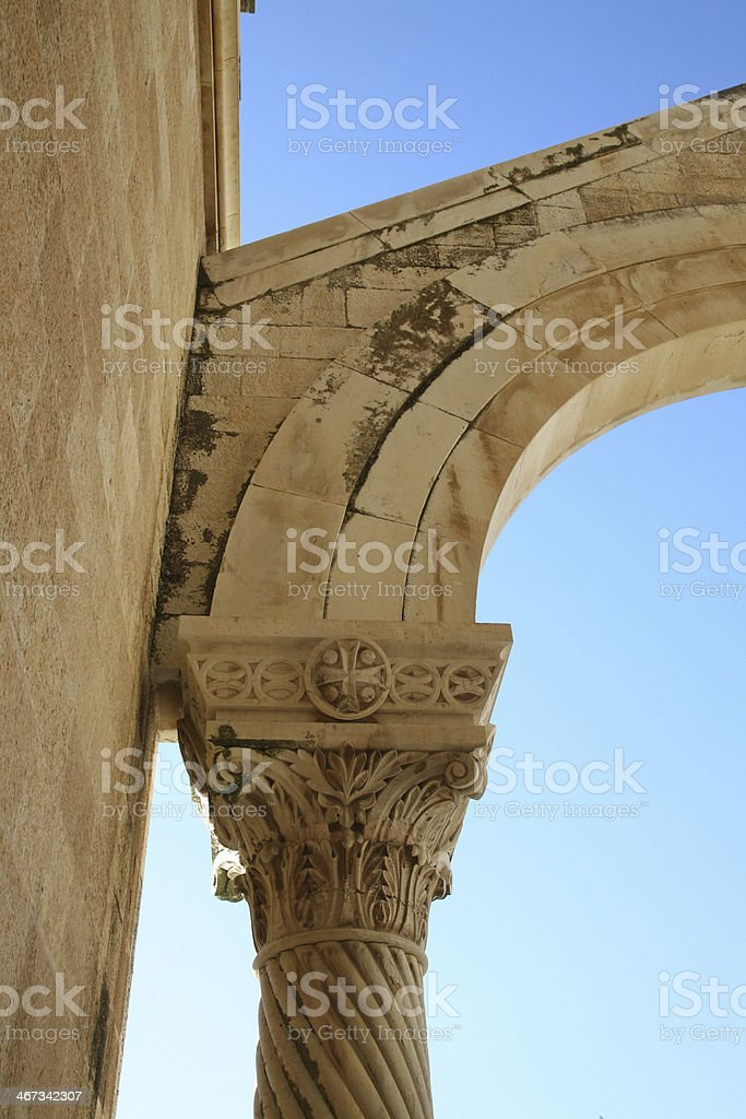 Pillar on Basilica of the Transfiguration, Mount Tabor, Galilee, Israel royalty-free stock photo