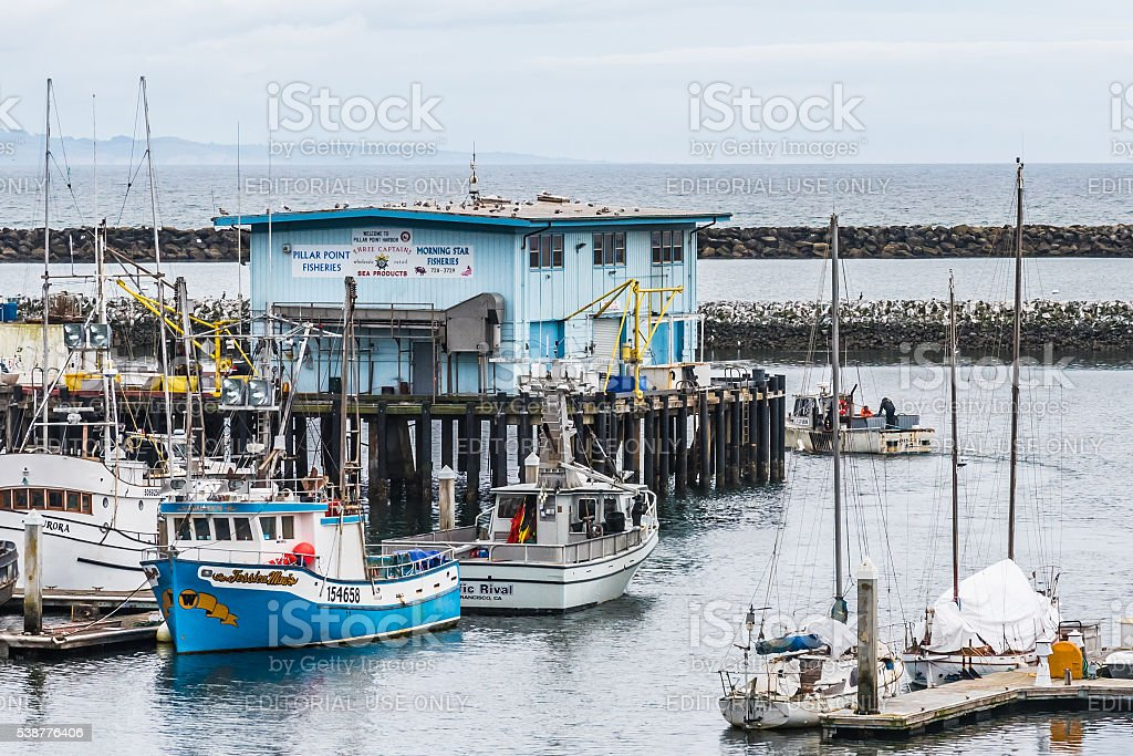 Pillar Point Harbor, Half Moon Bay, California. stock photo