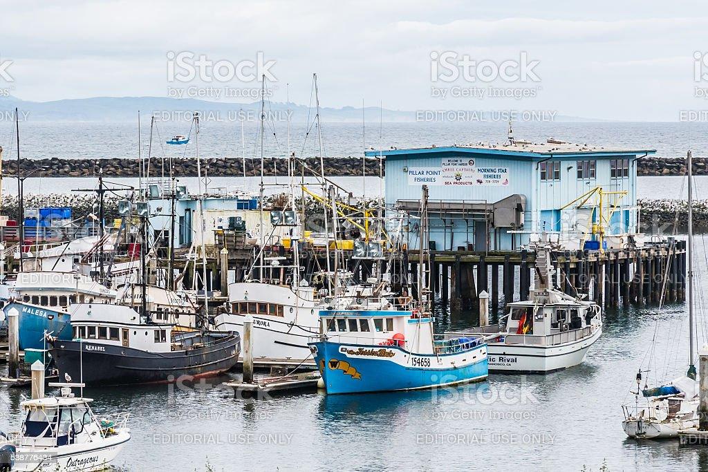 Pillar Point Harbor, Half Moon Bay, California. stock photo
