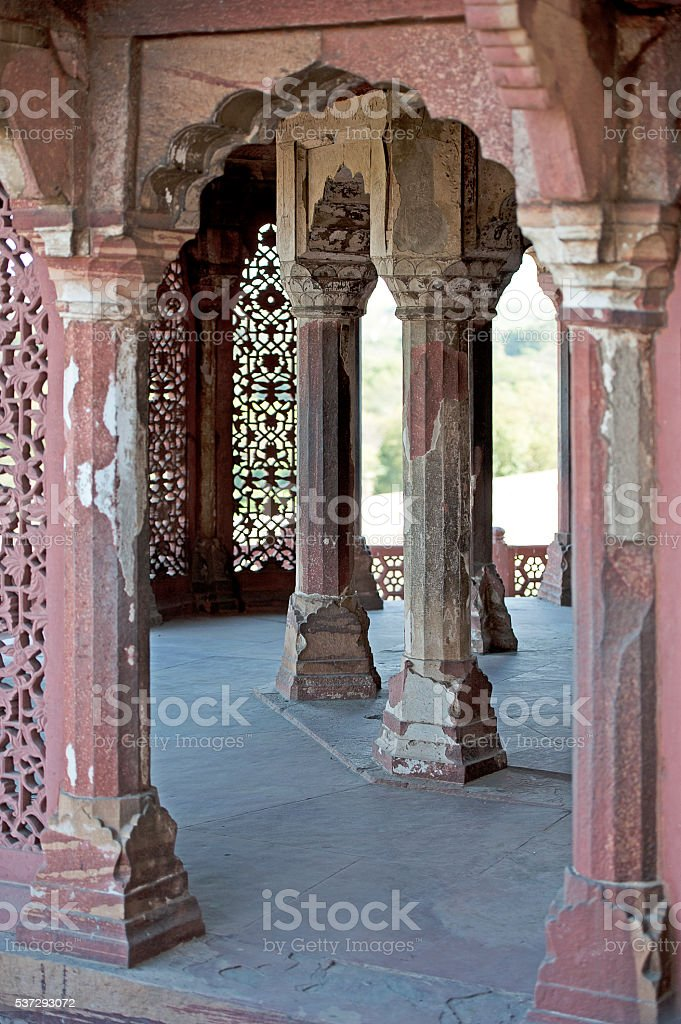 Pillared place, Red Fort, India stock photo