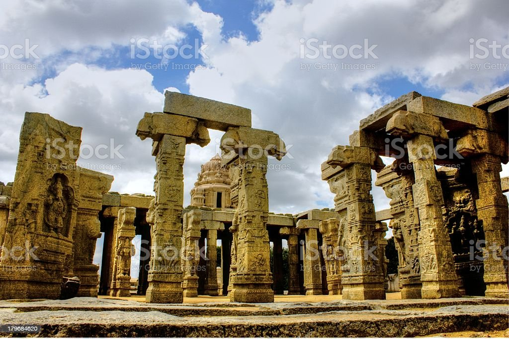Pillars and Carvings - South India stock photo