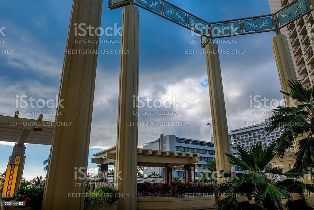 Pillars and dramatic sky stock photo
