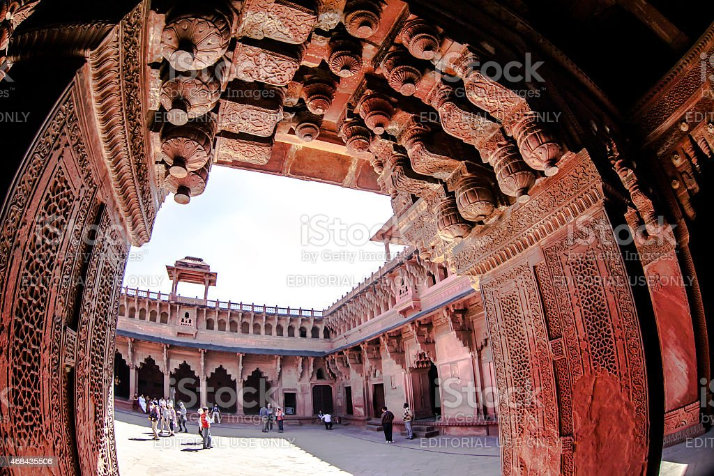 Pillars and unidentified at Agra Fort in India stock photo