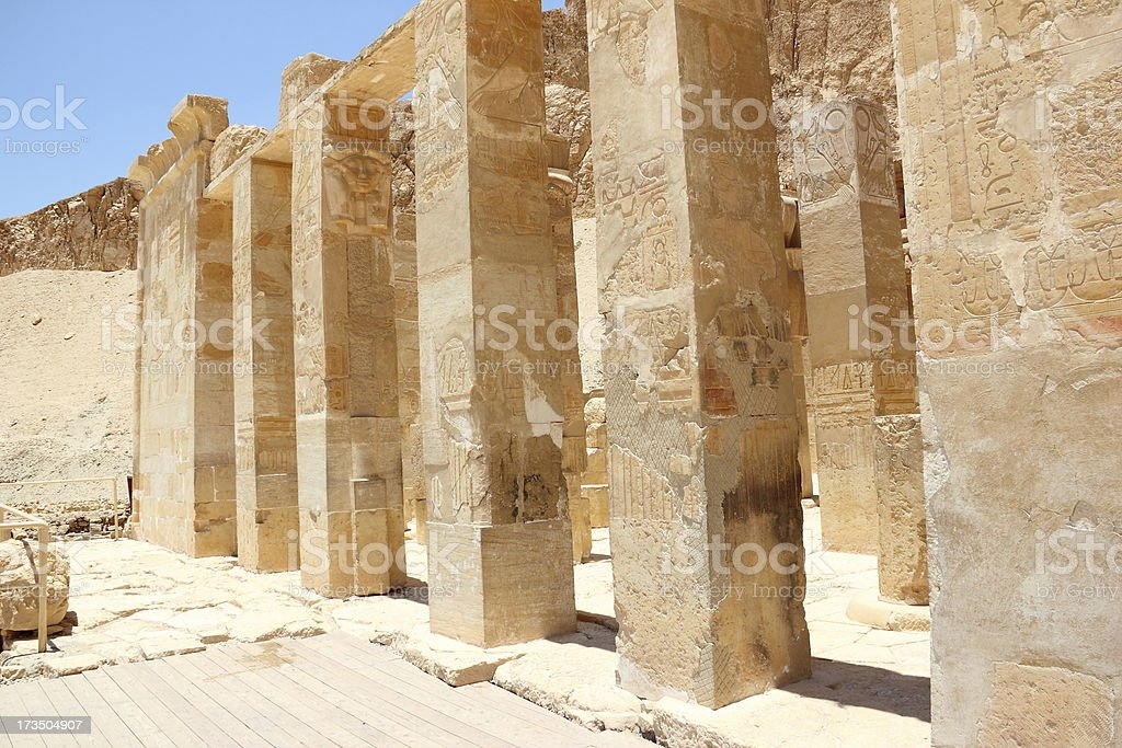Pillars at the Mortuary Temple of Hatshepsut. royalty-free stock photo