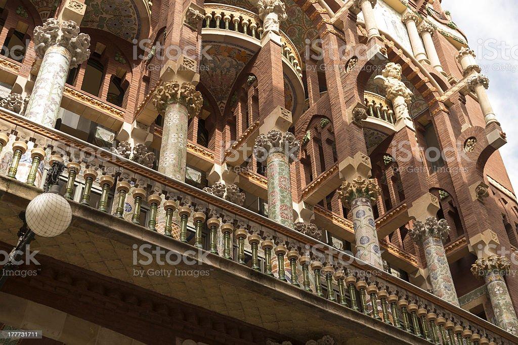 Pillars at the Palace of Catalan Music, Barcelona royalty-free stock photo