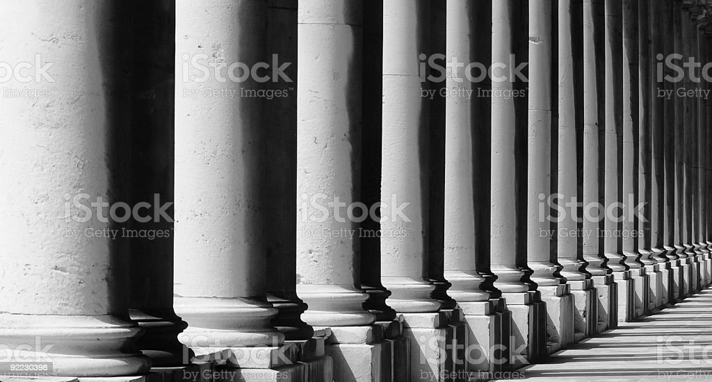 Pillars at the Royal Naval College,London. stock photo
