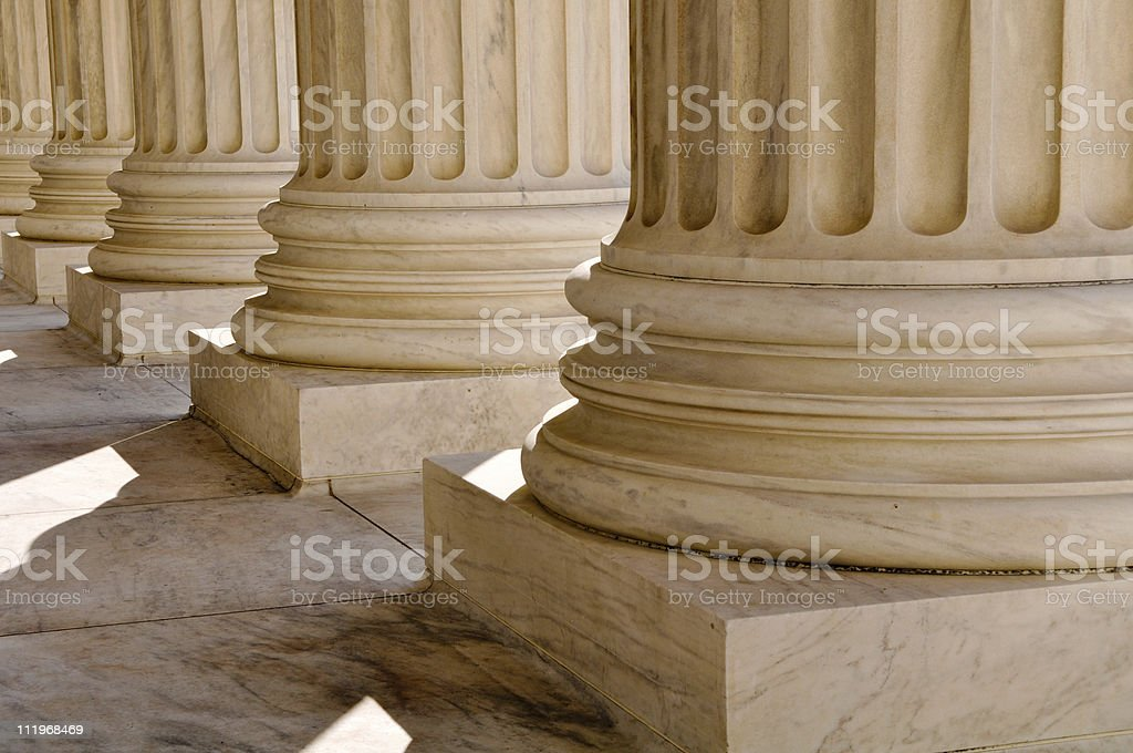 Pillars at United States Supreme Court Building stock photo