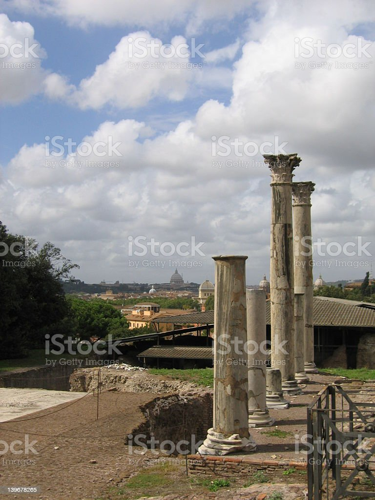 Pillars from a Caesar's house royalty-free stock photo