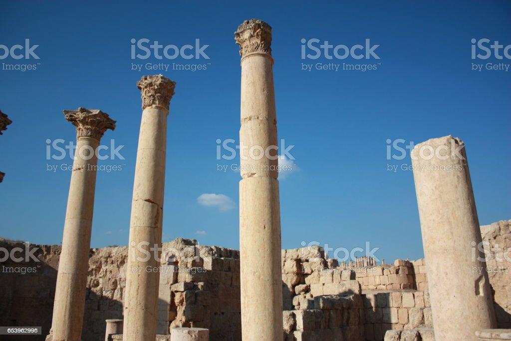 Pillars in Jerash in Jordan, Middle East stock photo