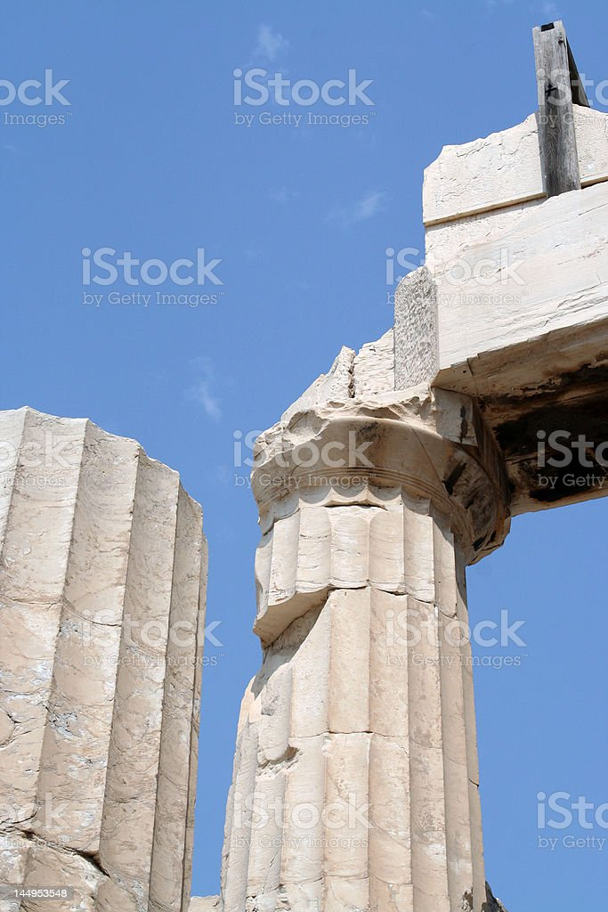 Pillars of a Greek temple on the Acropolis royalty-free stock photo