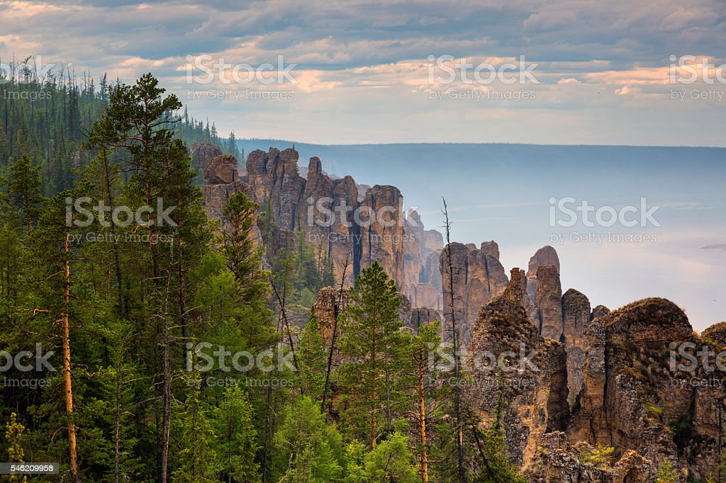Pillars of Lena river stock photo