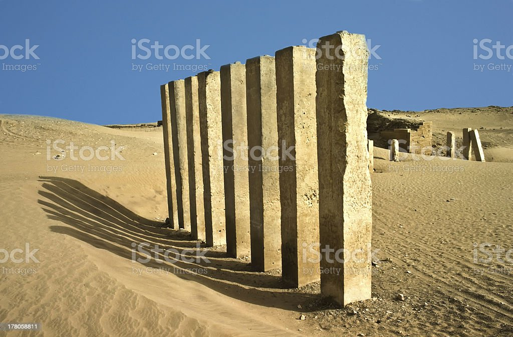 5 pillars of moon temple near Marib, Yemen royalty-free stock photo