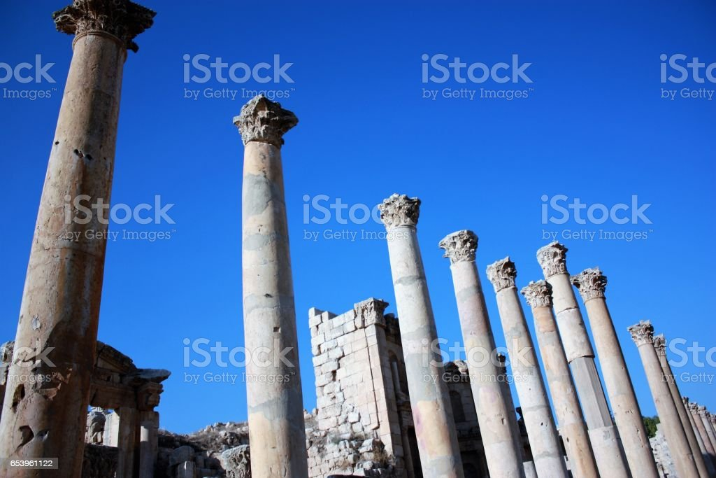 Pillars of the cathedral in Jerash in Jordan, Middle East stock photo