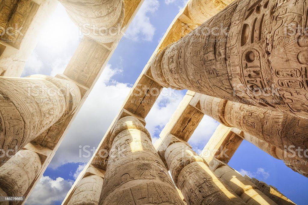 Pillars of the Great Hypostyle Hall from Karnak Temple stock photo