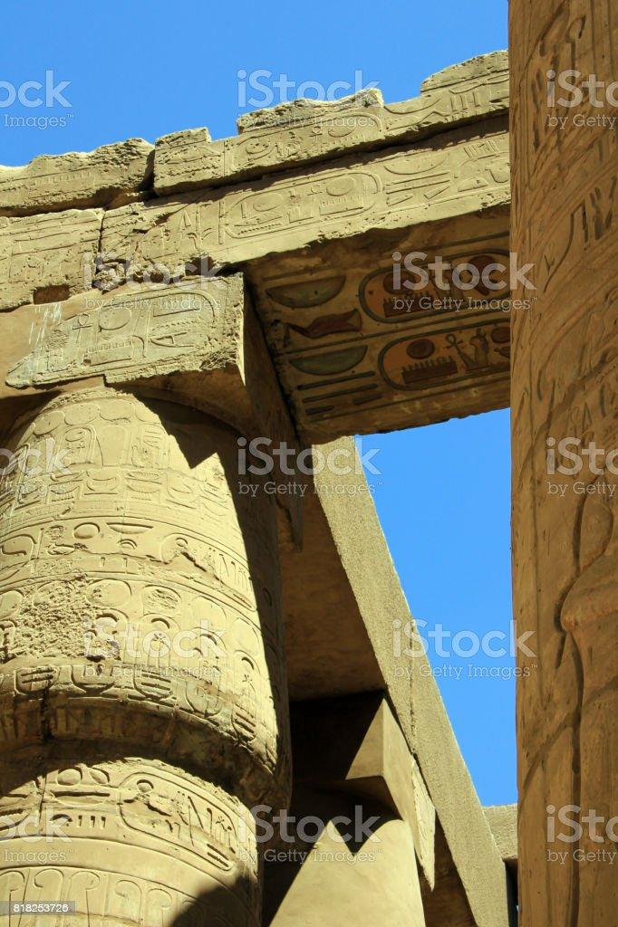 Pillars of the Great Hypostyle Hall stock photo