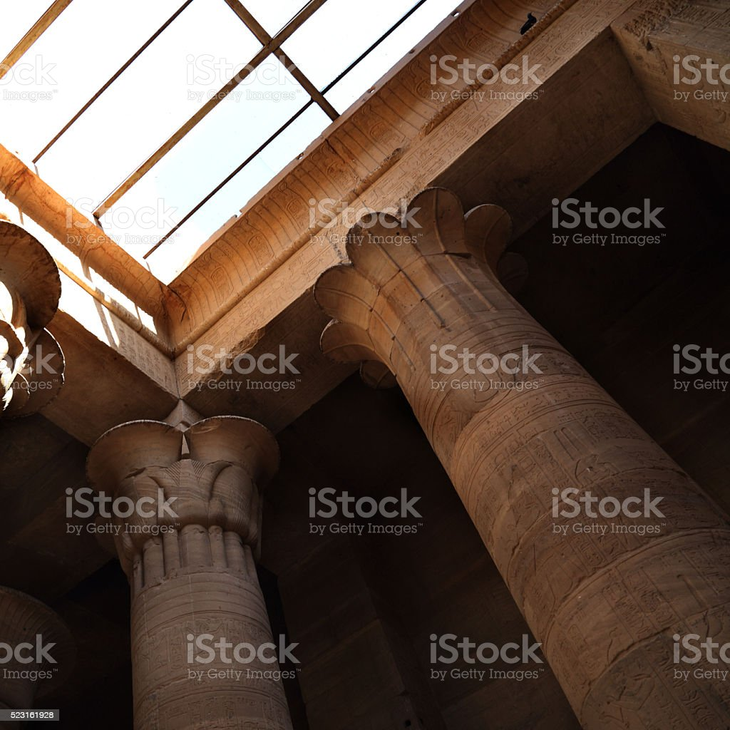 pillars of the karnak temple features stock photo