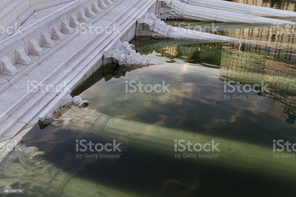 Pillars under the water stock photo