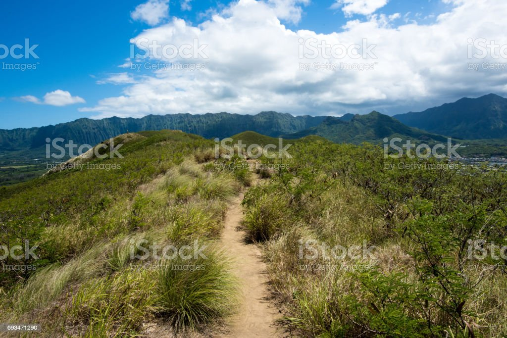 Pillbox hike on Ka'Iwa Ridge, Kailua, Oahu, Hawaii stock photo