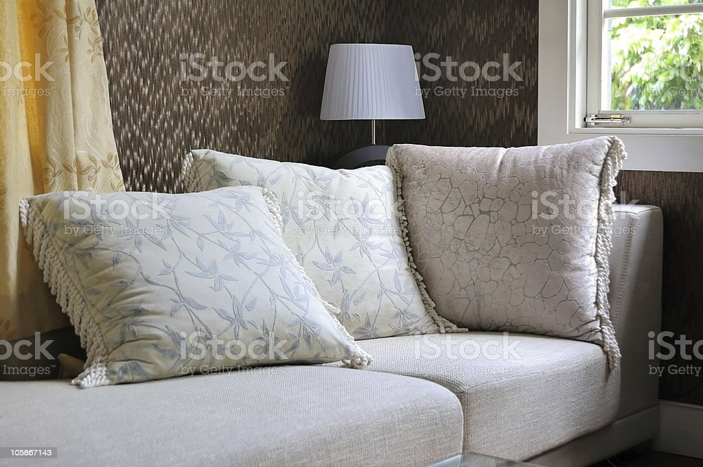 Pillow cushions On Sofa royalty-free stock photo