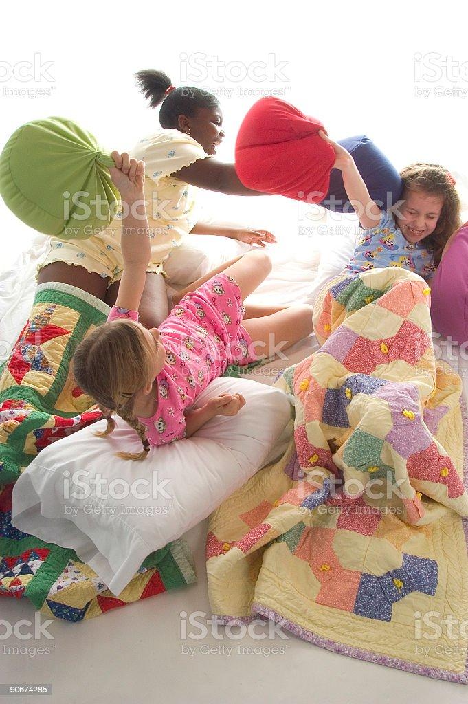 Pillow fight 3 stock photo