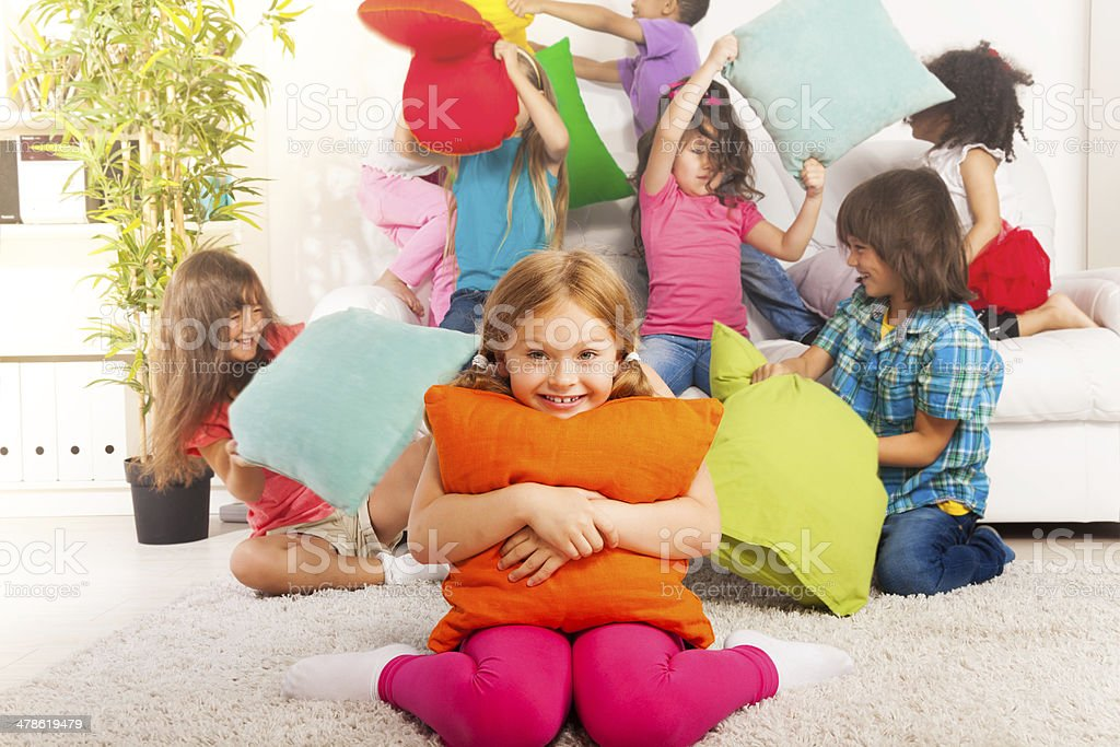 Pillow fight is fun stock photo