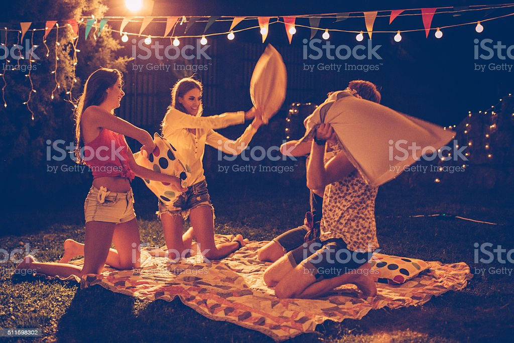 Pillow fight party stock photo