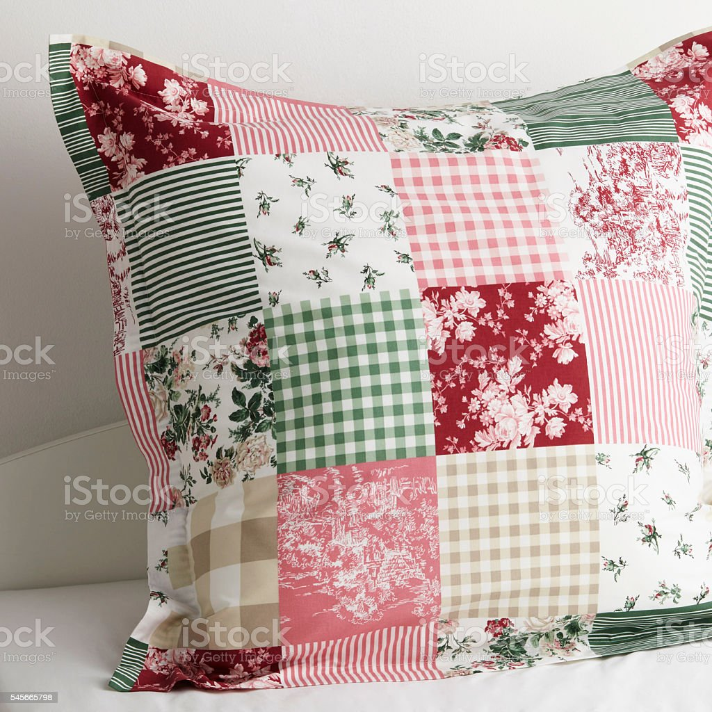 Pillow on a bed stock photo