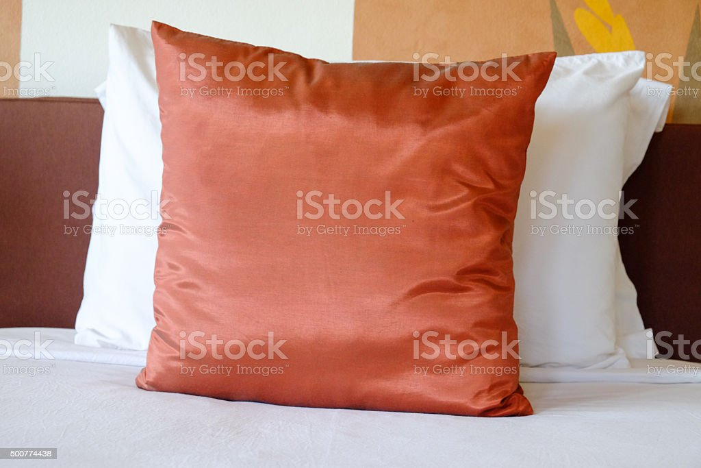 Pillow on bed stock photo