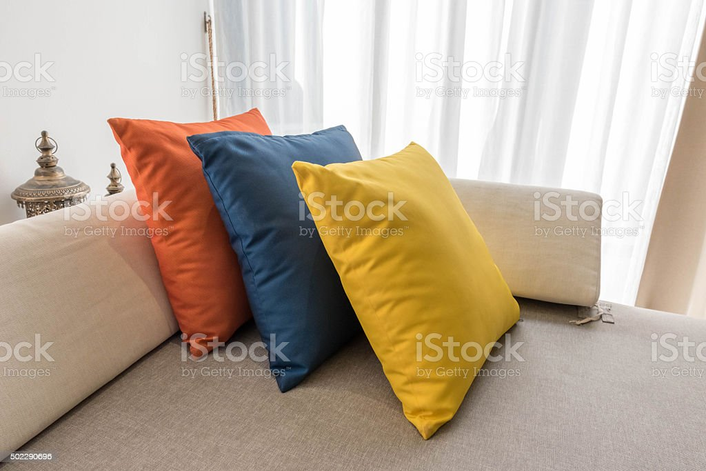 Pillow on sofa bed stock photo