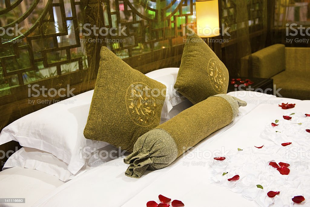 pillows and bed royalty-free stock photo