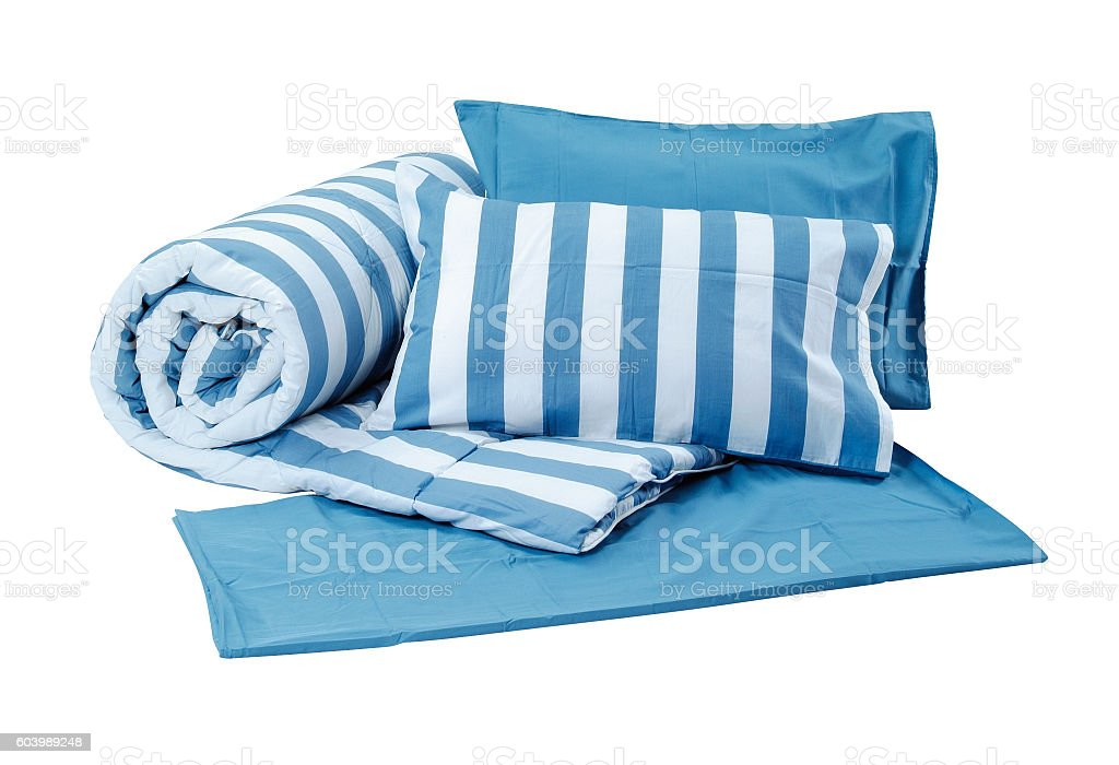 Pillows and blanket stock photo