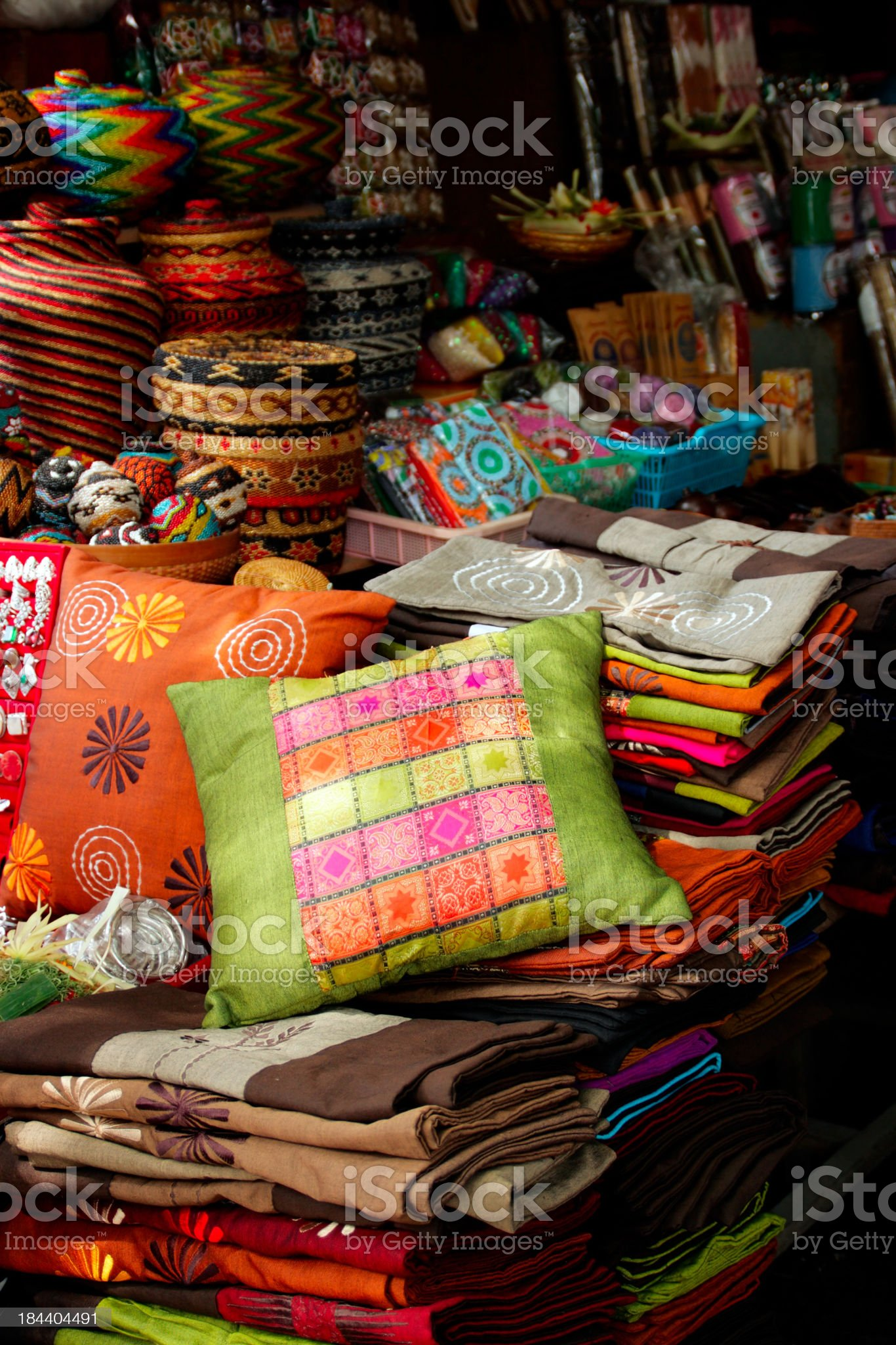 Pillows and trinkets and the Ubud Market royalty-free stock photo