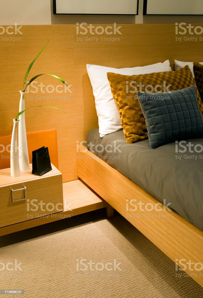 pillows headboard bed hotel royalty-free stock photo