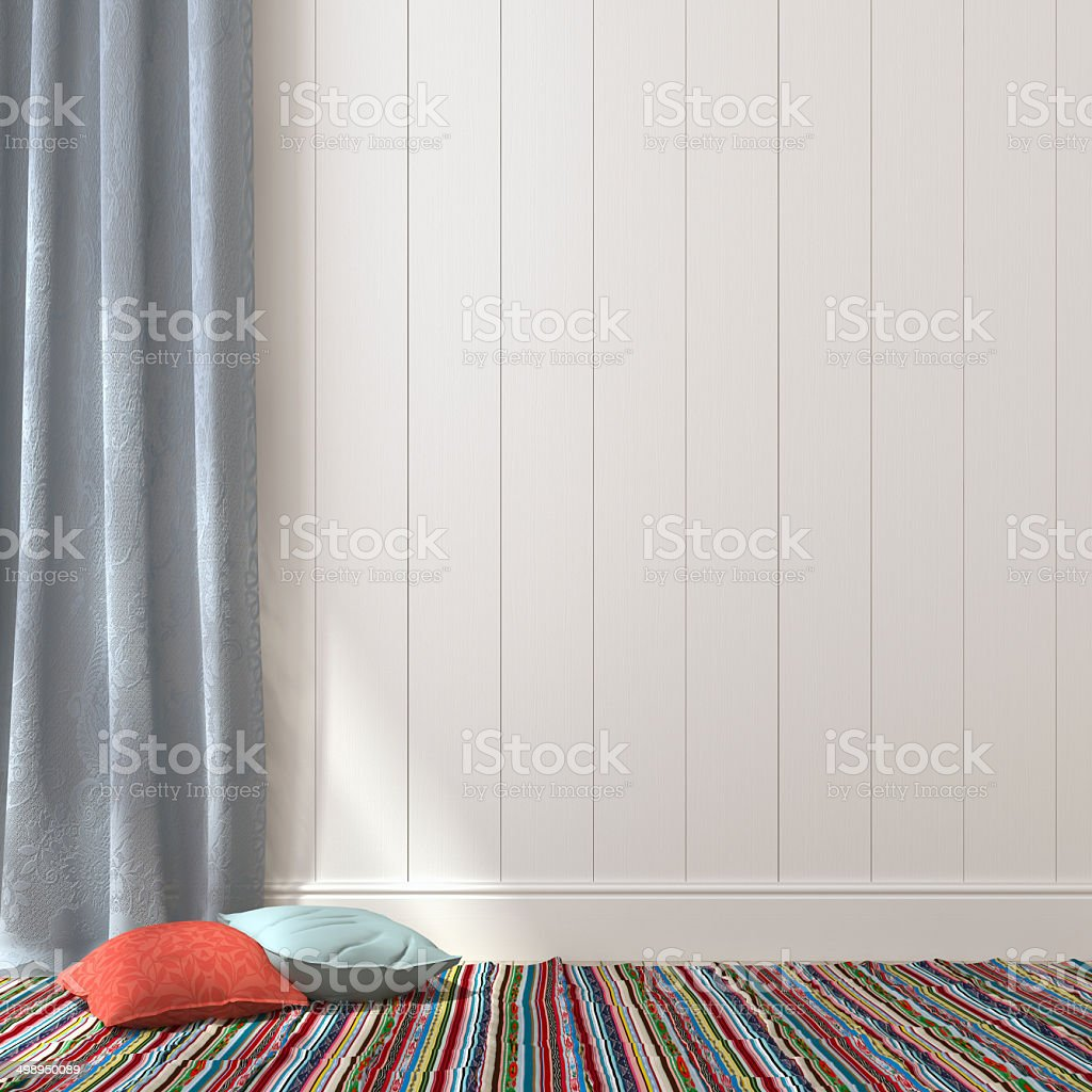 Pillows on a white wall from boards stock photo