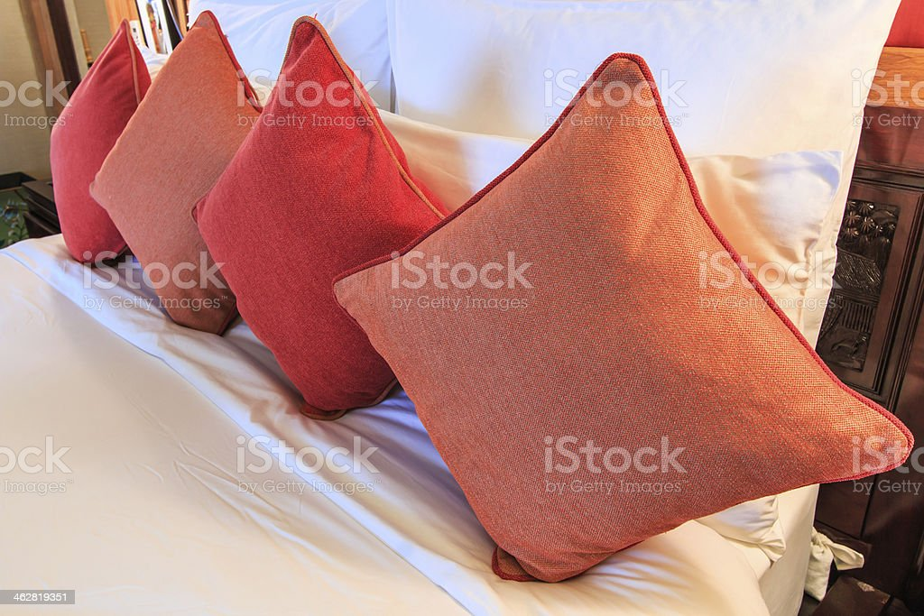 Pillows on bed royalty-free stock photo