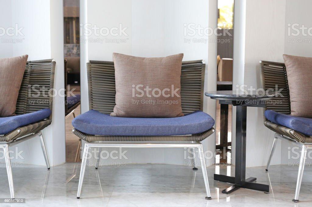 Pillows on sofa. stock photo