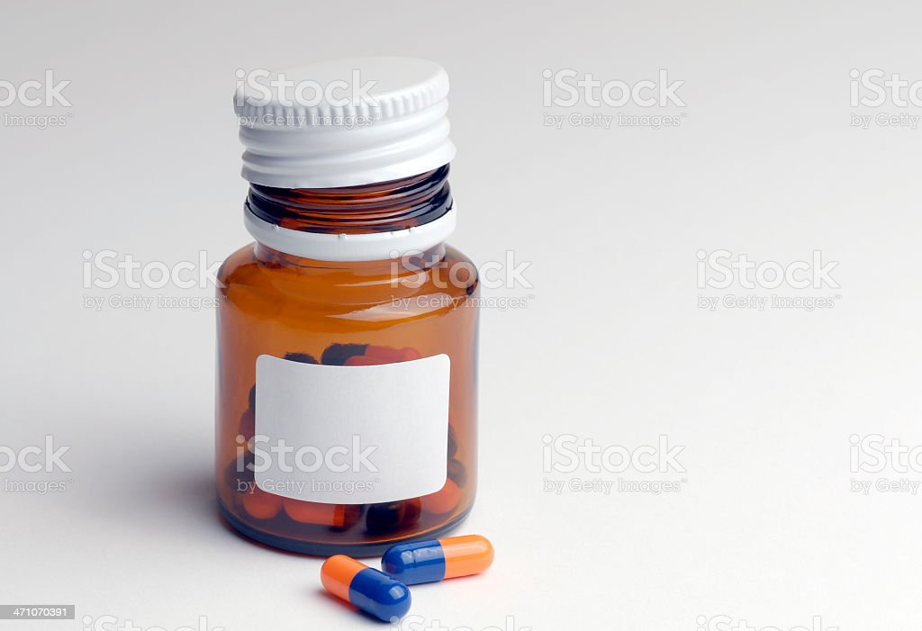 Pills and bottle royalty-free stock photo