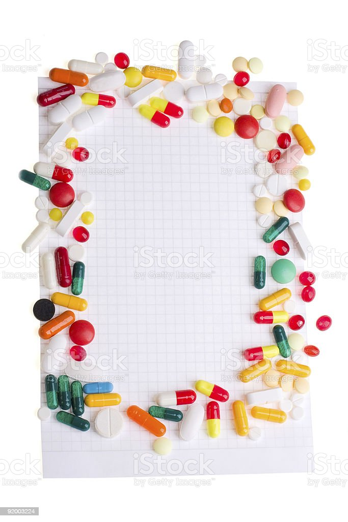 Pills and notepad royalty-free stock photo
