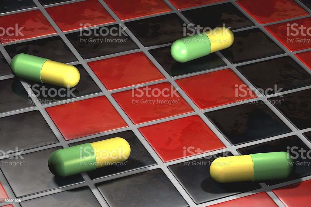 Pills and Red Cross royalty-free stock photo