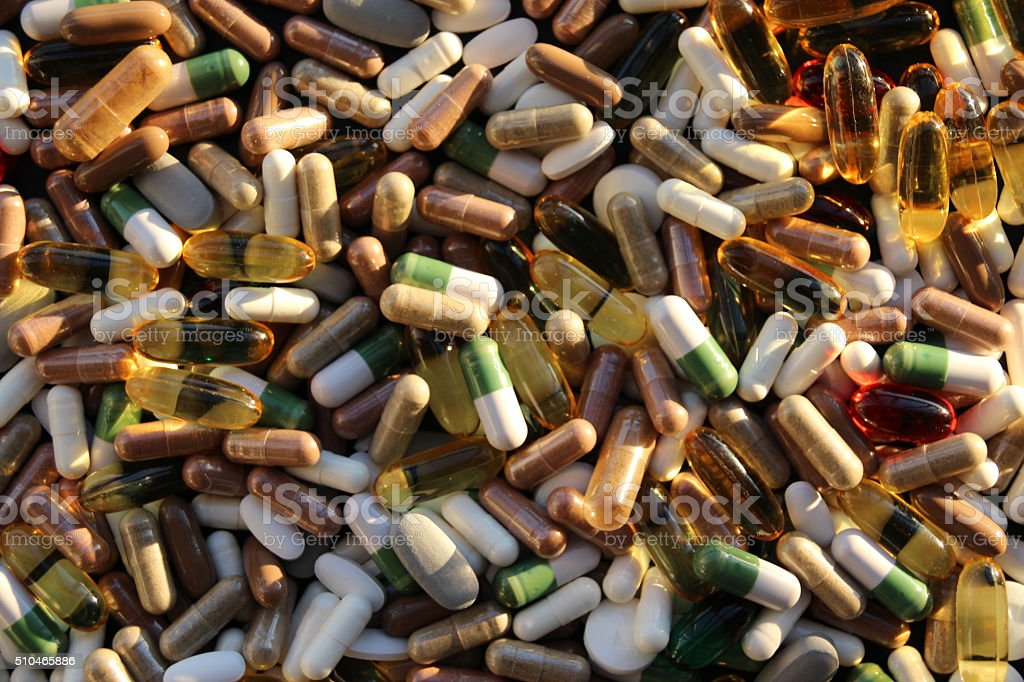 Pills and Tablets background stock photo