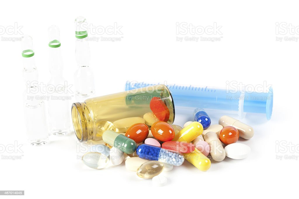 Pills and vials royalty-free stock photo